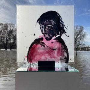 Mädchen in Pink Glasmalerei Nabo Gaß